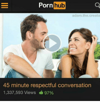 Porning: Porn hub  adam.the.creato  45 minute respectful conversation  1,337,593 Views 97%
