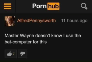 Absolute Madlad.: Porn hub  AlfredPennysworth 11 hours ago  Master Wayne doesn't know I use the  bat-computer for this  7 Absolute Madlad.