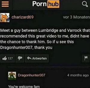Dank, Fam, and Memes: Porn hub  charizard69  vor 3 Monaten  Meet a guy between Lumbridge and Varrock that  recommended this great video to me, didnt have  the chance to thank him. So if u see this  Dragonhunter007, thank you  137orten  Dragonhunter007  4 months ago  You're welcome fam meirl by phenomoo7 FOLLOW HERE 4 MORE MEMES.