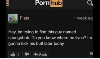 Butt, Porn Hub, and SpongeBob: Porn  hub  Flats  1 week ag  Hey, im trying to find this guy named  spongebob. Do you know where he lives? Im  gonna kick his butt later today  15 Reply Maybe hes at Patricks house