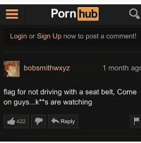 Ass, Bitch, and Bruh: Porn hub  hub  Login or Sign Up now to post a comment!  bobsmithwxyz  1 month ag  flag for not driving with a seat belt, Come  on guys...k**s are watching  422  ←Reply Car sex is inappropriate and not safe. How can any one do such a thing? First drunk driving now this? Everything fun and games still that stick that turn on the wind shield wipers poke a nigga in the eye or worse duke you in the glory hole while switching positions. The leather seats in the whip be hot as fuck too. Who getting 3rd degree burns for that NUT? I am shit, I guess car sex can be useful. After you bust a nut and hungry you can recover them McDonald fries that fall under the passenger seat. It be enough of them to make a combo meal. Both you and her can be munching right after fucking each other to death in that hot ass car. If a bitch wanna risk both our lives for this nut while I'm driving she the one bruh, she the one.