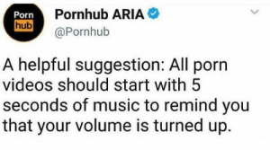 Memes, Music, and Porn Hub: Porn  hub  Pornhub ARIA  @Pornhub  A helpful suggestion: All porn  videos should start with 5  seconds of music to remind you  that your volume is turned up. Will spare me a lot of pain via /r/memes https://ift.tt/2Ny0IBK