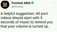 Music, Oscars, and Pornhub: Porn  Pornhub ARIA  hub@Pornhub  A helpful suggestion: All porn  videos should start with 5  seconds of music to remind you  that your volume is turned up. Oscars for the suggestion maybe??