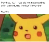 """Pornhub, Reddit, and Traffic: Pornhub, 12/1: """"We did not notice a drop  off in traffic during 'No Nut' November""""  Reddit: *Zip* How is that possible?"""