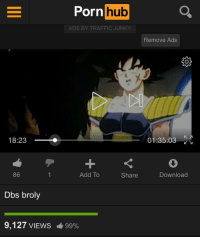 Traffic Junky: Pornhub  ADS BY TRAFFIC JUNKY  Remove Ads  18:23 O  01:35:03  86  Add To  Share  Download  Dbs broly  9,127 VIEWS  -699%