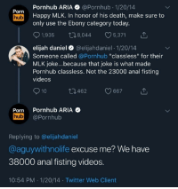 "Porn Hub, Pornhub, and Twitter: Pornhub ARIA @Pornhub 1/20/14  Porn  hub Happy MLK. In honor of his death, make sure to  only use the Ebony category today.  1,935  8,044  5,371  elijah daniel  @elijahdaniel - 1/20/14  Someone called @Pornhub ""classless"" for their  MLK joke...because that joke is what made  Pornhub classless. Not the 23000 anal fisting  videos  ロ462  667  Porn Pornhub ARIA  hub @Pornhub  Replying to @elijahdaniel  @aguywithnolife excuse me? We have  38000 anal fisting videos  10:54 PM 1/20/14 Twitter Web Client Classy fistings"