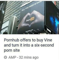 Memes, Porn Hub, and Pornhub: Pornhub offers to buy Vine  and turn it into a six-second  porn site  AMP 32 mins ago Porn hub is forever legendary that 4chan post got deleted quick 😂😂😂
