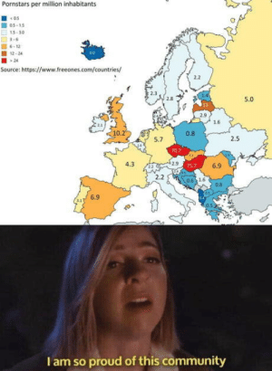 Proud to be Hungarian: Pornstars per million inhabitants  05  05-15  15-30  3-6  6-12  00  12-24  24  Source: https://www.freeones.com/countries/  2.2  5.0  2.9  1.6  10.21  0.8  2.5  5.7  70.7  2.9  4.3  6.9  757  2.2  0.6 16  0.8  6.9  I am so proud of this community Proud to be Hungarian