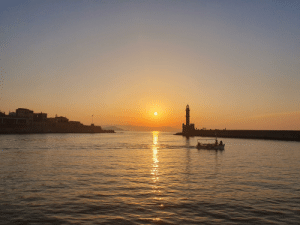 Phone, Camera, and Greece: Port sunset in chania crete, Greece (rookie photographer with phone camera)