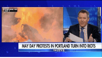 """""""Once the threat of violence can suppress speech, then actual violence can replace it."""" In GregGutfeld's monologue, he noted that as conservative speeches and parades get cancelled due to threats of violence, rioters took to the streets anyway on MayDay.: PORTLAND, OR  MAY 1  MAY DAY PROTESTS IN PORTLAND TURN INTORIOTS  THE FIVE """"Once the threat of violence can suppress speech, then actual violence can replace it."""" In GregGutfeld's monologue, he noted that as conservative speeches and parades get cancelled due to threats of violence, rioters took to the streets anyway on MayDay."""