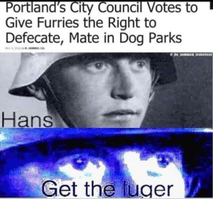 Dank, Memes, and Target: Portland's City Council Votes to  Give Furries the Right to  Defecate, Mate in Dog Parks  Hans  Get the uger Its hunting season boys. by JunckMale MORE MEMES