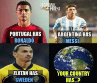 .....Capacity to produce 83,000 MW electricity 😂😂: PORTUGAL HAS  RONALDO  ZLATAN HAS  SWEDEN  ENA  ARGENTINA HAS  MESSI  YOUR COUNTRY  HAS .....Capacity to produce 83,000 MW electricity 😂😂