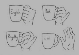 Gotta love those mornings when you drink your coffee with no hands.: Posh  Englash  Rogalty  Jedi Gotta love those mornings when you drink your coffee with no hands.