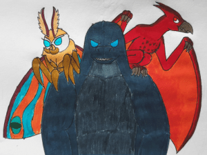 Advice, Godzilla, and Tumblr: poshtearexdoodles:  Another bigger Godzilla piece. My good friend @directorhachi pointed out how Mothra is referred to as an angel and Rodan is referred to as a demon and they are both small enough to fit on Godzilla's shoulders so they can be the demon and angel on his shoulders giving advice.