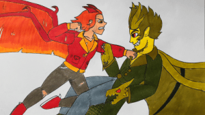 Being Alone, Bitch, and God: poshtearexdoodles:  Decided it'd be fun to draw a gijinka version of the fight between Rodan and Ghidorah.A lotta people call Rodan a coward and a bitch but he is one of only 3 kaiju out of the 17 on earth who had the balls to defy Ghidorah and only followed him after losing a fight to a foe even Godzilla couldn't beat alone. Rodan is a god damn brave boi.