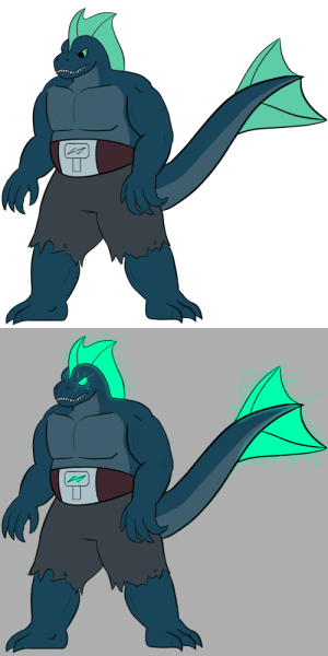 poshtearexdoodles:    Made a dnd character inspired by Godzilla. He is Jira the Storm Barbarian/Tempest Cleric. He is on a quest to get as powerful as he can to fight a foe who attacked his home.  The second image is what he looks like when raging, had a lot of fun adding the lightning effects. In general I think characters with lightning powers are awesome.: poshtearexdoodles:    Made a dnd character inspired by Godzilla. He is Jira the Storm Barbarian/Tempest Cleric. He is on a quest to get as powerful as he can to fight a foe who attacked his home.  The second image is what he looks like when raging, had a lot of fun adding the lightning effects. In general I think characters with lightning powers are awesome.