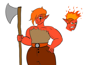 poshtearexdoodles:  So I have started doing digital art and this is the first digital piece that I feel confident enough about to post. She is Frigga the fire genasi Barbarian and her hair ignites in flames when she rages. She is very badass but is shy and socially awkward as hell, especially around cute girls.: poshtearexdoodles:  So I have started doing digital art and this is the first digital piece that I feel confident enough about to post. She is Frigga the fire genasi Barbarian and her hair ignites in flames when she rages. She is very badass but is shy and socially awkward as hell, especially around cute girls.