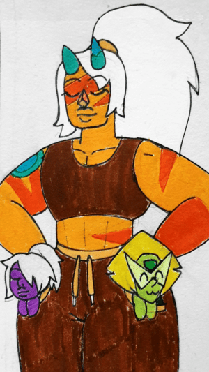 poshtearexdoodles:  This is so silly but the idea of Amethyst and Peridot fitting in Jasper's pockets was so funny to me I had to draw it.: poshtearexdoodles:  This is so silly but the idea of Amethyst and Peridot fitting in Jasper's pockets was so funny to me I had to draw it.