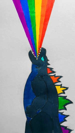 poshtearexdoodles:  Yesterday was the 1st year anniversary of Godzilla King of the Monsters and it is now pride month so I decided to redraw one of my earliest KotM fanarts where Godzilla fires his pride beam into the air. Still the best scene of the movie.: poshtearexdoodles:  Yesterday was the 1st year anniversary of Godzilla King of the Monsters and it is now pride month so I decided to redraw one of my earliest KotM fanarts where Godzilla fires his pride beam into the air. Still the best scene of the movie.