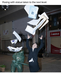Funny, Taken, and Free: Posing with statue taken to the next level.  FREE ORM  I-MEDIA  MEDIA 😂😂😂 | More 👉 @miinute