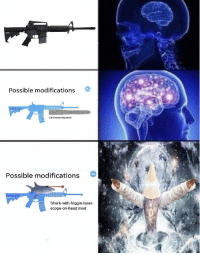 """Dank, Head, and Meme: Possible modifications  Chalnsaw bayonet  Possible modifications  Shark-with-friggin-laser-  scope-on-head mod <p>too much for my tiny brain to handle via /r/dank_meme <a href=""""http://ift.tt/2AAnm6L"""">http://ift.tt/2AAnm6L</a></p>"""