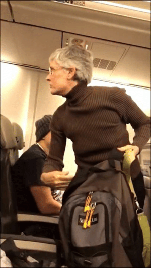 """America, Drunk, and Latinos: Post from the guy filming his altercation :   Just had the craziest experience ever on an airplane:  I'm boarding my flight from Baltimore to Seattle and approach my seat. I had an upgraded seat that I paid a little extra for because of the long 6 hour flight. As I approach my row I smile and motion to the husband and wife sitting in the aisle and middle seat that my seat was next to the window. I put my backpack in the overhead and the wife with a very stern voice says to me:  """"Did you come here to cheer or to protest?""""  """"I came here to celebrate democracy ma'am""""  ... I knew this was going to be a long flight at this point. She then proceeded with: (somewhat paraphrased as my memory allows)  Her: """"You put a crazed man in charge of the nuclear codes! You should be ashamed!""""  Me: 'Well we're all entitled to our opinions here ma'am.""""  Her: """"And I'm entitled to get drunk and puke in your lap! I'm going to throw up right in your lap! You make me sick! Don't talk to me! Don't look at me! Don't you dare even put your arm on that rest. You disgust me! You should be ashamed of yourself! You put a maniac's finger on the button"""" (assuming she's means nukes). You are a bigot. You should get off this plane!""""  Me: """"ma'am, by definition, bigotry is disparaging someone prior to knowing them simply by their beliefs and opinions. Thank you for being the very thing you preach against.""""  She the proceeded with other various rantings such as my lack of critical thinking and other insults. Finally a flight attendant came over as you will see in the video followed by a supervisor informing that she would have to deboard the plane per captains orders.  After much fuss, airport police came and removed her from the plane. The lady across from me filmed that and was gracious to sent it to me. Many others around me defended me insisting the lady had caused all the commotion and was verbally assaulting not just me but others wearing various Trump apparel boarding t"""