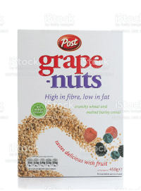grape nuts: Post  grape  nuts  toc  etty Images  ges  IAL USE ONY  ONLY  High in fibre, low in fat  crunchy wheat and  is  malted barley cereal  NO  ADDED  SUGAR  es  EDITORIAL US  Each 45g serving contains  155 3.4g 0.9g 0.2g 0.5g  of an adult's guideline daily amount  loy  elicious wit  Fat Saturates Salt  For best before see top of pack