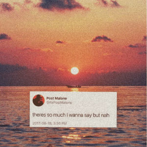 Post Malone, Post, and Nah: Post Malone  @itsPostMalone  theres somuch I wanna say but nah  2017-08-18, 3:30 PM