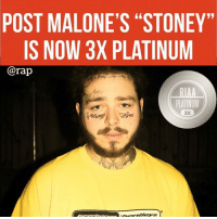 "Friends, Memes, and Rap: POST MALONE'S ""STONEY""  IS NOW 3X PLATINUM  @rap  PLATINUM  3X congratulations posty ➡️ DM 5 FRIENDS FOR A SHOUTOUT"
