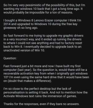 (Posted as picture bc original post had an emoji in title) Question about getting Win 10 back?: (Posted as picture bc original post had an emoji in title) Question about getting Win 10 back?