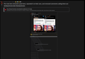 An exceptionally trashy example of being utter and complete trash.: Posted by u/-Setro- 1 day ago O O O S:  8.  6.0k The mod who removed a post here, reposted it on their own, and removed comments calling them out  Identifying information visible / Misleading Information  Sorry, this post has been removed by the moderators of r/trashy.  Moderators remove posts from feeds for a variety of reasons, including keeping communities safe, civil, and true to their purpose.  + Ovtrashy Pested b  hours age  A pretty big bruh moment  Photo  ashy  Pdy he d  washy  This showshowed a girt her own rape.  Contestant shown her own rape to film her  reaction.  News  Spanish Big Brother made  contestant 'watch her own  rape'  A News  Spanish Big Brother made  contestant 'watch her own  rape'  share  Save  f share  Save  205  上214  Share  Share  75 Comments O Ge Award A Share Unsave O Hide Report  9N Upoted  This theead has been locked by the moderators of rashy  New comments cannot be posted  SORT EY BEST  Comment removed by moderator hours g  Comment nemoved by moderator  Shours ago  Comment removed by moderator Shours ago  Comment removed by moderator  2 hours ag  Comment removed by moderator  1 hour ago  Comment removed by moderator 1 hour ag  3 points 56 minutes age  + Ihave 4K karma and I think I spend to much time on here. Wtf  Give Ad Share Report Save  Comment removed by moderator  1 hour ago  Comment removed by moderator 1hour ag  Comment remeved by mederatior  1 hour age  points - 4 mintes age  + You google reddit leaderboards and then block them, Im assuming.  Give Awand share Report Seve  Comment removed by modeatior Shours ago  Comment removed by moderator 4hours g  Comment removed by modenatior Shours ag  Comment removed by moderanor hours ago  Comment removed by moderator  Shours ago An exceptionally trashy example of being utter and complete trash.