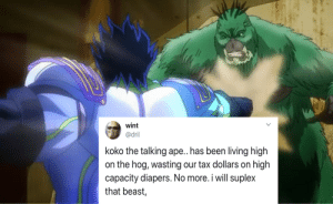Posting Dril tweets over Jojo characters until stone ocean is confirmed. Day 4: Posting Dril tweets over Jojo characters until stone ocean is confirmed. Day 4