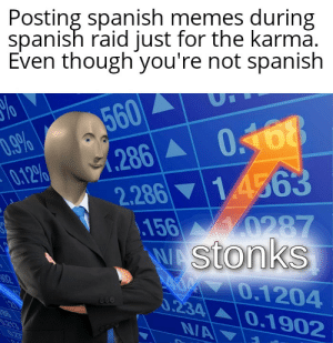 me_irl: Posting spanish memes during  spanish raid just for the karma.  Even though you're not spanish  560  (286 0.468  2.286 14563  .156  W Stonks  D.9%  0.12%  y0287  02  O.1204  0.234 0.1902  NA  21  .213  027 me_irl