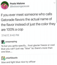 """Anaconda, Blackpeopletwitter, and Facts: Posts Malone  @boissongazeuse  if you ever meet someone who calls  Gatorade flavors the actual name of  the flavor instead of just the color they  are 100% a cop  7/14/17, 9:42 PM  sexpooping  Ya but you gotta specify... frost glacier freeze or cool  blue you can't just say """"blue"""" bc there's more than  one blue...  chiefokeefe  blue and light blue nice try officer <p>Facts (via /r/BlackPeopleTwitter)</p>"""