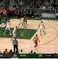 Espn, Memes, and 🤖: POTAWATOMI  13  23  23  18  RS  25 BUCKS  26 1st Qtr 2:27 😂 The Bucks played Kawhi's laugh after a Raptors' turnover.  (Via @ESPN)  https://t.co/3jKwPFsS83