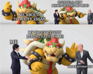 Meme, Nintendo, and Reddit: POTENTIAL NEW  MEME CROSSES MY MIND  ME ABOUT  TO WRITE ESSAY  MY PRODUCTIVITY  LOSING FAITHINM  ME  MY  PROCRASTINATION Who will win, Area 51 or Nintendo e3 meme?