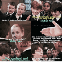 Potter is looking good today...  Hey, you're Harry, right?  Uhm. Yup. A  Harry grabs Draco's handi  Wel Nice to meet you, Draco.  ink Malfoy got eye  you, reply to Shut up, Ro  THE WIZ ARD S DIARY  Nice to meet you! I'm Draco Malfoy,  you're a muggleborn, huh? don't  worry, I'm not like Weasley said...  I'm not like my family...  ope we could see each other an  time, Potter tsmilel ; qotd; comment 'drarry' with your eyes closed?👀 - harrypotter drarry dracomalfoy tomfelton danielradcliffe