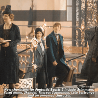 Memes, News, and Been: POTTERSCENES  New characters for Fantastic Beasts 2 include Grimmson,  Yusuf Kama, Skender, Theseus Scamander, Leta Lestrange  and an unnamed character. NEWS | Five new and confirmed actors have been cast in Fantastic Beasts 2, alongside Beasts 1's Zoë Kravitz. Swipe to see the actors and their characters. Which of the characters are you most excited to see?