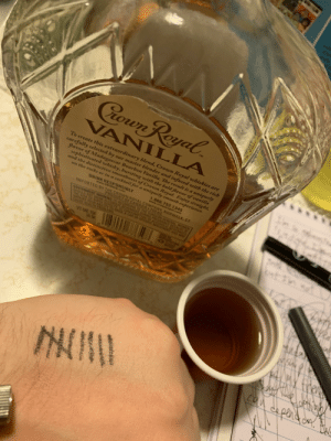 I take a tally after every shot. Last night my ex drunk texted me asking for sex, I turned her down, and it's opened up a lot of wounds and issues. Wish me luck, I'm seeing how far I get in the bottle tonight. Also, thank god for autocorrect: Poun Rayal  TM  VANILLA  To create this extraordinary blend, Crown Royal whiskies are  carefully selected by our master blender and infused with the rich  flavor of Madagas car Bourbon Vanilla. The result is a uniquely  sopbisticated whisky, bursting with the bold flavor of vanilla  and the distinctive smoothness of Crown Royal. Enjoy straigbt,  on the rocks or in a cocktail for a uniquely smooth experience.  DRINK RESPONSIBLY  www.DRNKIO.com  1.866.752.1345  www.crownroyal.com  IMPORTED BY THE CROVWN ROYAL COMPANY, NORWALK, CT  PRODUCT OF CANADA-750 mL  GOVERNMENT WARNING (1) ACCOROING TO THE SURGEON GENERAL WOMEN  SHOULD NOT DRINK ALCOHOLIC BEVERAGES OURING PRECNANCY B2  THE RISK OF BIRTH DEFECTS 12) CONSUMPTION OF ALCOMOCE  NPAIRS YOUR ABILIY 10 DRIVE A CAR OR OPERATE AACHED4  CAUSE HLALTH PROBLEMS  nt  VT-ME 1  A 6e  OD  2p05  e pens  w.*.gan I take a tally after every shot. Last night my ex drunk texted me asking for sex, I turned her down, and it's opened up a lot of wounds and issues. Wish me luck, I'm seeing how far I get in the bottle tonight. Also, thank god for autocorrect