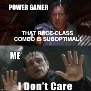 Power, DnD, and Peace: POWER GAMER  THAT RACE-CLASS  COMBO IS SUBOPTIMAL!  МЕ  IDon't Care  imgflip.com Just let me play my Dragonborn Wizard in peace, ok?