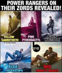 Nick Mastodon: POWER RANGERS ON  THEIR ZORDS REVEALED!  PINK  BLACK  YELLOW  SABRETOOTH PTERODACTYL MASTODON  IGIBLERD. VISION  BLUE  RED  RAND DONUMS  TRICERATOPS