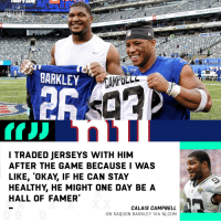 Love, Memes, and The Game: POWER UP YOUR TAIL  2018 TACOMA  TOYOTA  POWER UP YOUR TALGATE  YOTA  POWER UPYOUR TAILGATE  018 TACOMA  TOYOTA  YORK  BARKLEY  I TRADED JERSEYS WITH HIM  AFTER THE GAME BECAUSE I WAS  LIKE, 'OKAY, IF HE CAN STAY  HEALTHY, HE MIGHT ONE DAY BEA  HALL OF FAMER  CALAIS CAMPBELL  -ON SAQUON BARKLEY VIA NJ.COM Could @saquon be one of the greats?  All love from @Campbell93. 💯 https://t.co/0P64rid58S