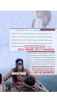 Test, Jon Jones, and One: @POWERFULJOEROGAN  3.5. The Laboratory did not use a quantitative  analysis because the particular substance is not a threshold one. The  sensitivity of the method used by SMRTL to detect the M3 metabolite is  extremely high due to the advanced analytical methods used to detect  prohibited anabolic agents. The concentration of the M3 metabolite was  extremely low at betwee 20-80 picograms/milliliter (pg/ml). A picogram is  JON JONES 2017 SAMPLE  detected in Jones' positive test from  an independent arbitrator under the  n this substance and the extensive te  perts, USADA has concluded that the  ple is consistent with residual amou  USADA has also concluded that cor  extremely low levels Jones obtaine  vas at approximately 60 pg/mL and t  sample. As a result of these findiNgs  jones fans  the 201 8 SAMPLE