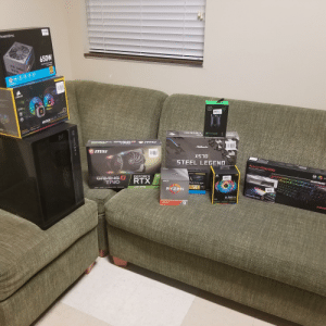 Just got back with my friends from Microcenter. We're gonna build my PC over their dorm today!: POWERSPEC  650W  Switching Power Supply  Fully Modular  80  PLUS  ALD  5  HYDRO SERILS  PS 650GFM  CORSAIR  CUE  SG  AS  CE NON RCa LIc  H1OO RGB PLATINUM  EXTRENE PCRFOR  DoE PLATINUM  LEGEND  ELITE  DEATHADDER  OLS  GEFORCE RTX  2OB0 SUper  GAMINGA  TRIC  ASRock  msi  XSO  STEEL LEGEND  ALLOY Elite RGB  MECHANICAL GAMING KEYBOARD  4'nland PERFORMANCE  ORAP HICS  CARD  GEFORCE  GAMINGX  TRIO  RTX  AMD  6129 29  SOLD STATE DRIVE  MX  DDRA  TURING/GODRGRAY TRACING CORES NVIDA DLSS  2080 Super  PCle Gen 4x4  TRDGT  1TB  RYZEN  ACOMBS A300MB  HYPCA  TRIDGNTZNED  TIDENT  LL120 RGB  CUE  rE PROCESSOR  HYP  R  SW Just got back with my friends from Microcenter. We're gonna build my PC over their dorm today!