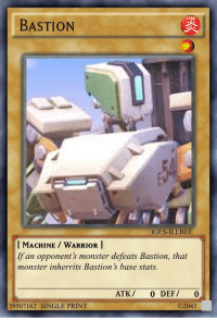 Fire, Monster, and Reddit: PPL  FIRE  BASTION  IGES-ILLBEE  I MACHINE WARRIOR ]  If an opponent's monster defeats Bastion, that  monster inherrits Bastion 's base stats.  ATK/ 0 DEF/ 0  ©2043  39507162 SINGLE PRINT