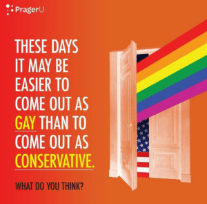 Future, Tumblr, and Blog: : PragerU  THESE DAYS  IT MAY BE  EASIER TO  COME OUT AS  GAY THAN TO  COME OUT AS  CONSERVATIVE  WHAT DO YOU THINK? lexaproletariat:  onceler-vore-fanfic: Just wanna say this is the ideal future Fuckin'… good.