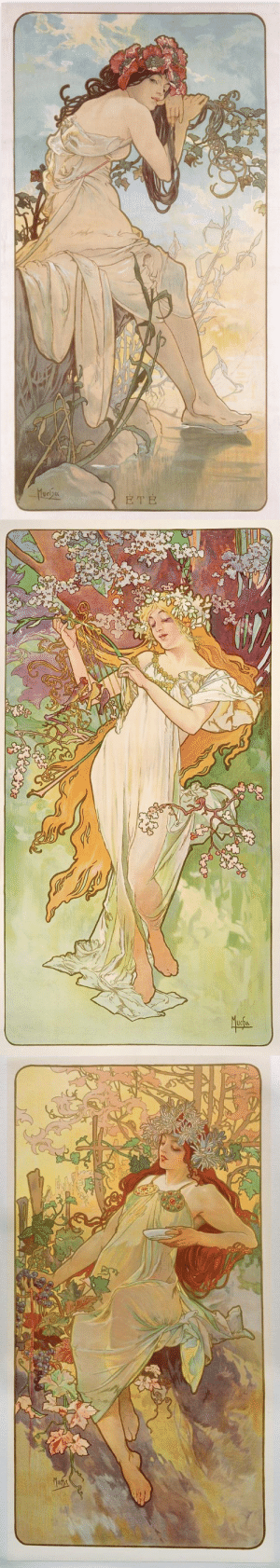prairieantics:  The Seasons by Alphonse Mucha: prairieantics:  The Seasons by Alphonse Mucha