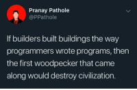 Programmers for the win!: Pranay Pathole  @PPathole  If builders built buildings the way  programmers wrote programs, then  the first woodpecker that came  along would destroy civilization. Programmers for the win!