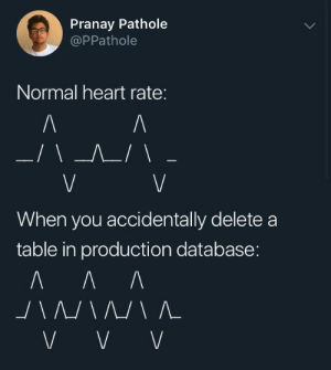 Heart, Table, and Database: Pranay Pathole  @PPathole  Normal heart rate:  When you accidentally deletea  table in production database: Drop;