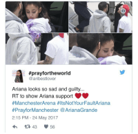 Sad, Her, and Can:  #prayfortheworld  @aribestlover  Ariana looks so sad and guilty  RT to show Ariana support  #ManchesterArena #ItsNotYourFaultAriana  #PrayforManchester @ArianaGrande  2:15 PM - 24 May 2017  43 56 <p>Poor thing looks burned out. And of course she can&rsquo;t really recover with cameras constantly following her.</p>